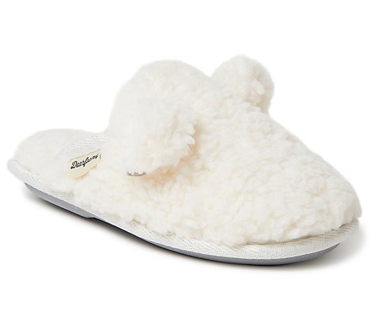 Dearfoams Kids Sherpa Teddy Scuff Slippers withEars