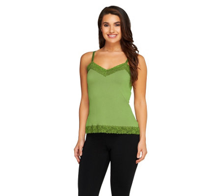 Susan Graver Essentials Liquid Knit Lace Trimmed Camisole