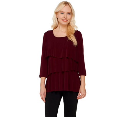 Susan Graver Liquid Knit Tiered 3 4 Sleeve Top