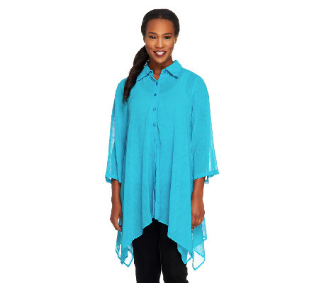 Linea by Louis Dell'Olio Asymmetric Hem Button Front Tunic w/ Collar