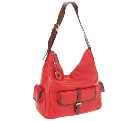 Isaac Mizrahi Live! Bridgehampton Leather Hobo with Pockets