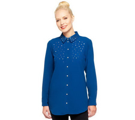 Susan Graver Stretch Crepe Button Front Shirt with Embellishments