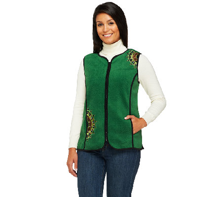 Bob Mackie's Zip Front Embroidered Fleece Vest with Pockets