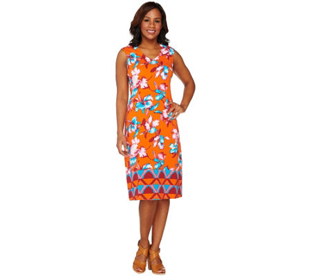 Isaac Mizrahi Live! Tropical Floral Midi Dress
