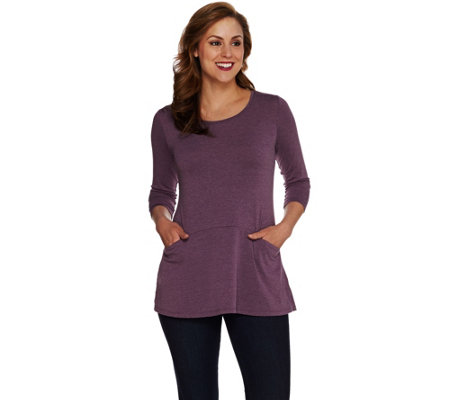 LOGO by Lori Goldstein Heathered Knit Top with Front Seam Pockets