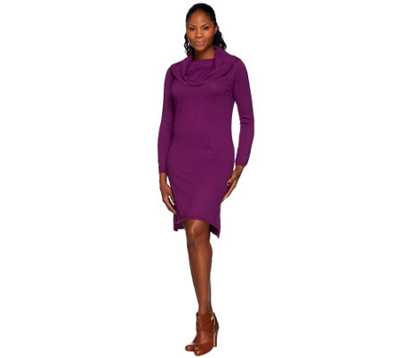 H by Halston Loose Cowl Neck Long Sleeve Sweater Dress