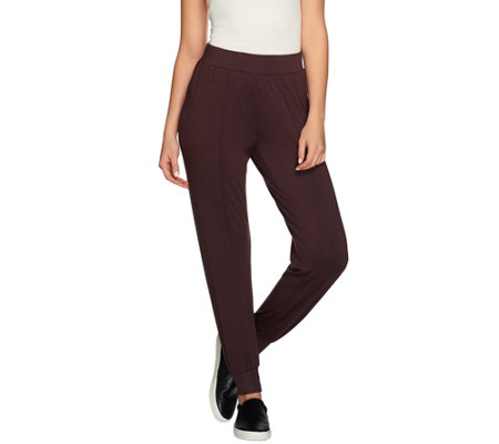 H by Halston Knit Pintuck Seam Pull-On Jogger Pants