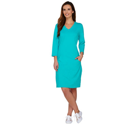 Denim & Co. Active French Terry 3/4 Sleeve Dress with Pockets