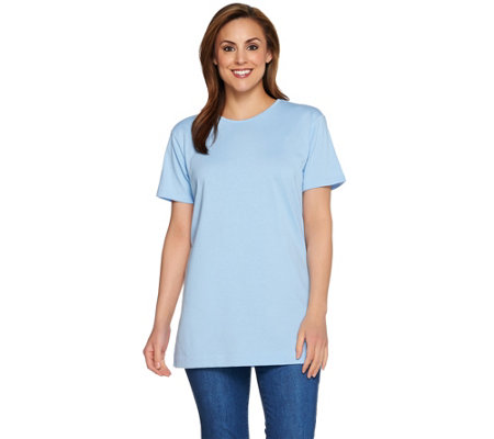 Denim & Co. Essentials Oversized Short Sleeve Scoop Neck Tunic