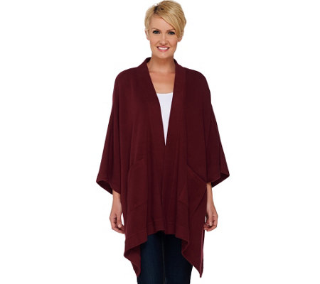"""As Is"" Denim & Co. Open Front Solid Poncho with Pockets"