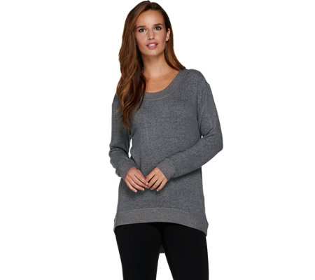 AnyBody Loungewear Brushed Hacci Hi-Lo Sweatshirt