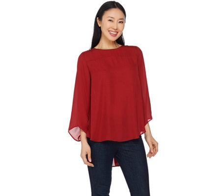 Lisa Rinna Collection 3/4 Sleeve Top with Back Pleat Detail