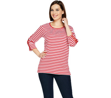 Quacker Factory Striped Rhinestone Lattice Sleeve Knit T-shirt