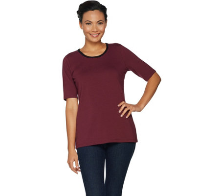 Belle by Kim Gravel TripleLuxe T-Shirt with Lace Detail