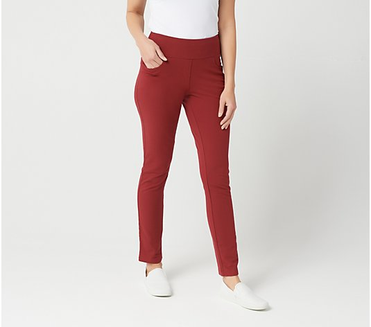 Denim & Co. Active Petite Pull-On Slim Leg Pants