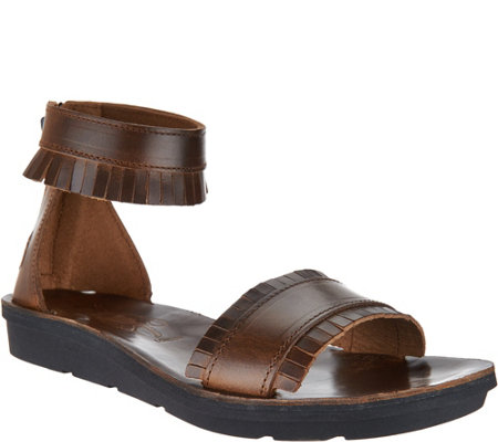 """As Is"" FLY London Leather Fringe Sandals - Mexu"