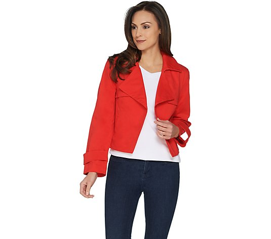 Du Jour Open Front Cropped Jacket with Pockets