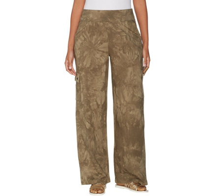 Belle By Kim Gravel TripleLuxe Knit Wide Leg Cargo Pant