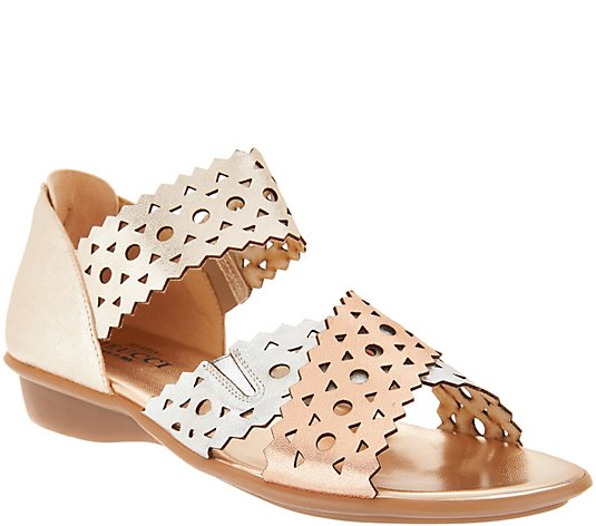 Sesto Meucci Leather Cut-Out Cross Stap Sandals - Elbi