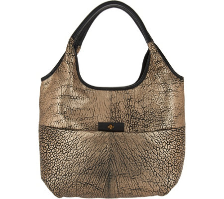 """As Is"" orYANY Metallic Lamb Leather Tote Handbag - April"