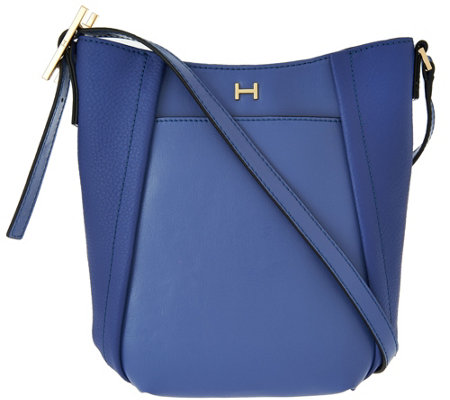 """As Is"" H by Halston Smooth & Pebble Leather Crossbody Bag"