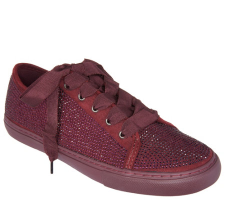 """As Is"" Isaac Mizrahi Live! SOHO Crystal Lace-Up Sneakers"