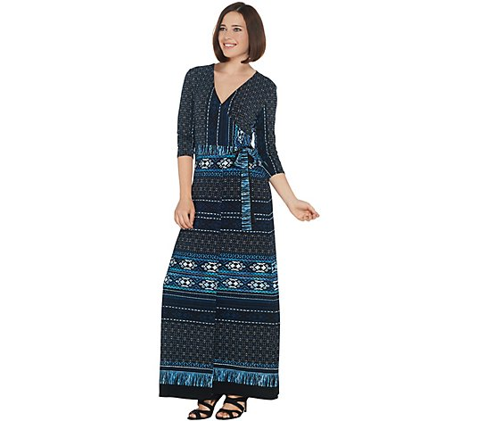 Attitudes by Renee Tall Como Jersey Printed Faux Wrap Maxi Dress