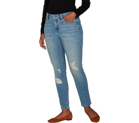 """As Is"" Laurie Felt Classic Denim Ripped Slim Leg Jeans"