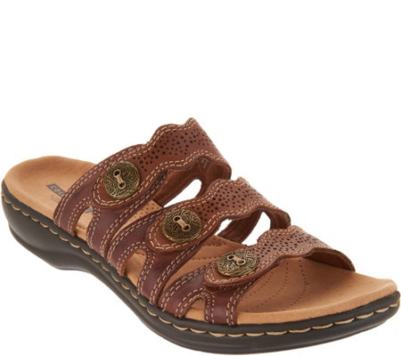 """As Is"" Clarks Leather Lightweight Adjust Sandals- Leisa Grace"