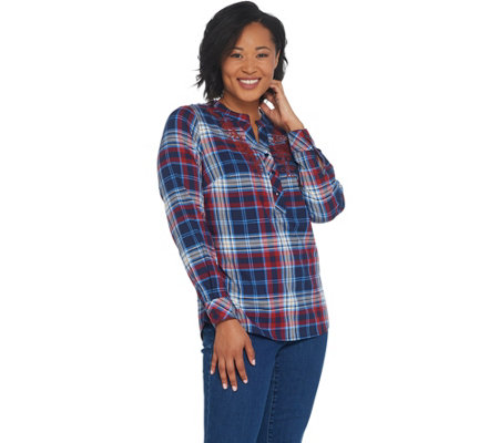 Denim & Co. Stretch Plaid Herringbone Shirt with Embroidery