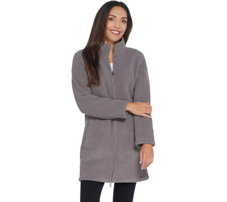 Denim & Co. Chenille Fleece Long-Sleeve Zip-Front Coat