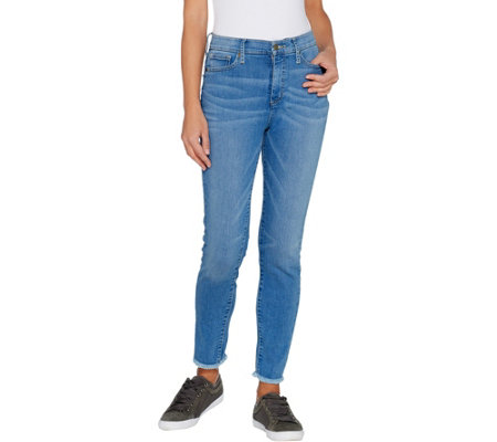 """As Is"" Isaac Mizrahi Live! Regular TRUE DENIM Frayed Hem Ankle Jeans"
