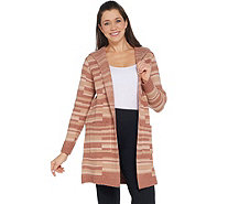 Studio by Denim & Co. Stripe Jacquard Open Front Cardigan - A346287