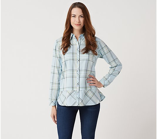 Joan Rivers Button Front Plaid Shirt with Bias Hem