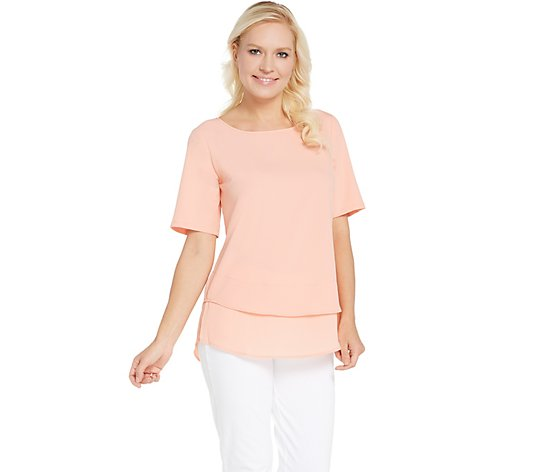 """As Is"" Joan Rivers Double Layer Short Sleeve Stretch Top"