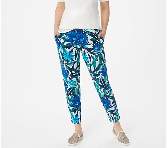 Denim & Co. Printed French Terry Slim-Leg Ankle Pants w Pockets