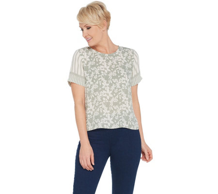 Vince Camuto Short-Sleeve Floral Lace Mix Print Blouse