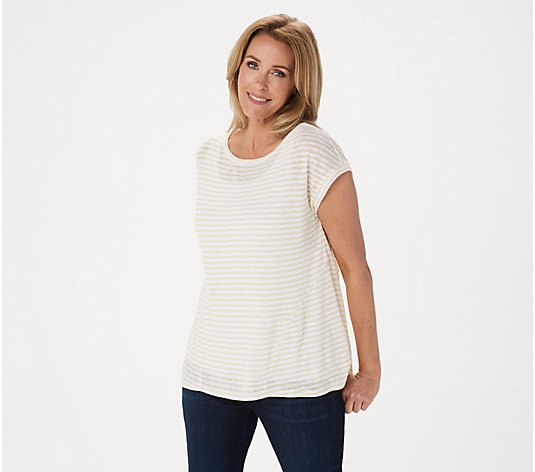 Lisa Rinna Collection Striped Pullover Top