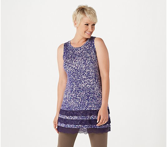 LOGO Layers by Lori Goldstein Printed Tank with Tiered Lace