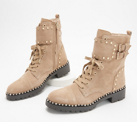 Sam Edelman Leather Studded Lace-Up Ankle Boots - ` Jennifer