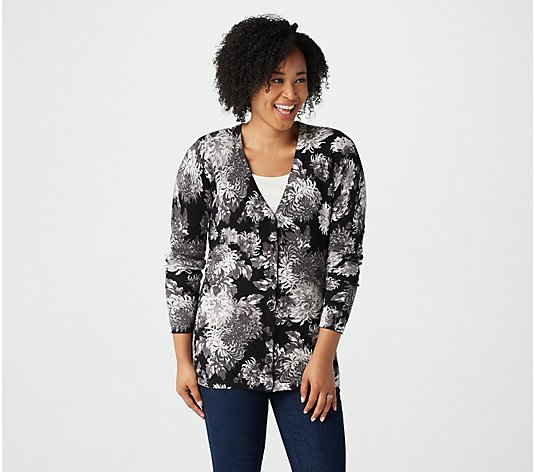 Isaac Mizrahi Live! Floral Printed V-Neck Button Front Cardigan