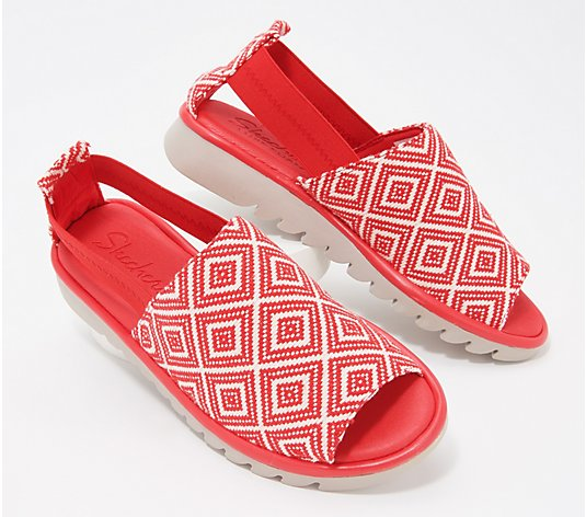 Skechers Open-Toe Red Print Slip-On Shoes - Jigsawed