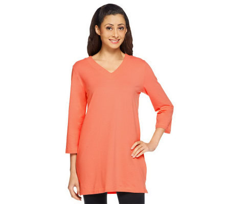 Denim & Co. Essentials Perfect Jersey 3/4 Sleeve V-Neck Tunic