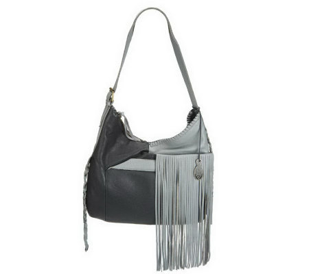 """As Is"" Muxo by Camila Alves Leather Square Hobo w/Fringe"