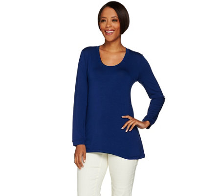 H by Halston Essentials Solid Scoop Neck Long Sleeve Knit Top