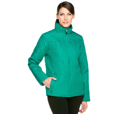 Susan Graver Packable Quilted Zip Front Jacket with Pockets