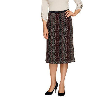 Linea by Louis Dell'Olio Zig Zag Patterned Skirt