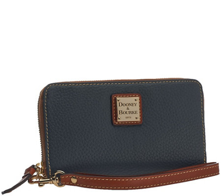 Dooney & Bourke Pebble Leather Zip Around Phone Wristlet