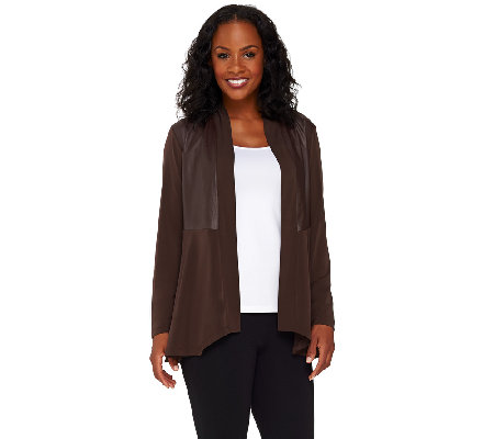 Susan Graver Liquid Knit Cardigan with Faux Leather Panels