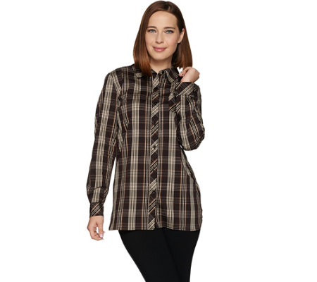 Susan Graver Printed Stretch Long Sleeve Cotton Button Front Shirt